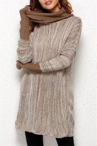 Pavacat Spliced Turtleneck Loose Pullover Sweater - Brown $36.00