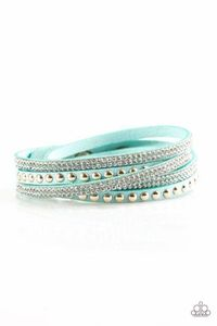 Paparazzi I BOLD You So! - White Rhinestone Gold Stud Blue Suede Double Wrap Bracelet $5.00