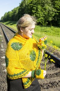 Yellow triangle crochet shawl as knit gift for mom or wife, oversized knitted clothes for women plus size $60.00