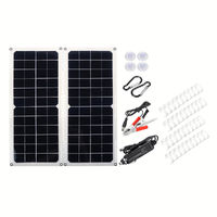 10W 16V 0.9A 420x190x2.5mm Monocrystalline Solar Panel + 4*Spring + Cables Kit with Rear Junction Box Support USB Port
