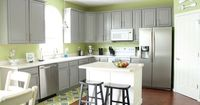 grey cabinets green walls
