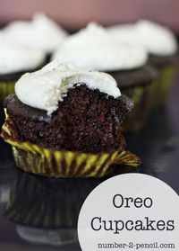 The Best Oreo Cupcake Recipe - the oreos come in at the frosting...use double-stuff creme centers