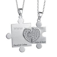 Gullei.com Jigsaw Puzzle Couples Jewelry Engraved Gift Sterling Silver