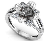 Silver Love Ring Flower Ring Promise Ring Unique Engagement Ring with Side Diamonds Floral ring Birthday Gift For Her $597.50
