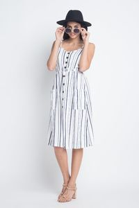 Women's Striped Button Midi Sleeveless Dress $33.00