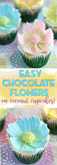 Looking for a cute spring dessert? These Easy Chocolate Flower Cupcakes are simple, fun, and perfect for birthdays and showers! The edible chocolate flowers on top are beautiful, and SO easy to make! | From SugarHero.com #chocolateflowers #flowercupcakes ...