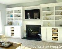mock - built ins. Once we switch out the rooms, use this as guide for school room wall. Desk area in place of fireplace.
