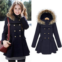 DOUBLE BREAST STAND COLLAR DETACHABLE HOODED COAT PLEATED HEM DRESS Price:$69.99 Style: Retro  Material: Wool  Color: Navy Blue