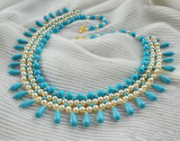 Free pattern for beaded necklace Turquoise & Pearls