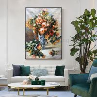 Abstract floral paintings on canvas original art rose orange decor large wall art oil painting wall Pictures cuadros abstractos $136.25