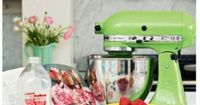pink + green kitchen...THIS KITCHEN AID MIXER WOULD BE FOR AMBER..IT'S HER GREEN! SHE WOULD LOVE IT!!! <#