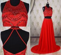 A Line Scoop Neck Two Piece Long Red Chiffon Beaded Pearl Prom Dress