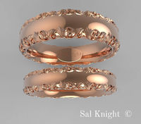 Gold Wedding bands set wedding anniversary band 14 karat white yellow rose gold design by Sal Knight © < #jewelry #oneofkind #specialorder #customize #honest #integrity #diamond #gold #rings #weddingband #anniversary #finejewelry #salknight