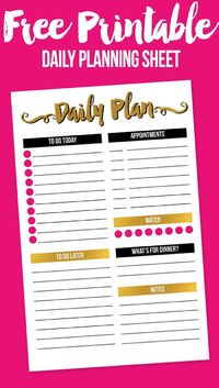 I'm sharing a fun, modern free printable daily planning sheet that really helps me plan my days.