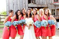 Southern weddings - red bridesmaid dresses