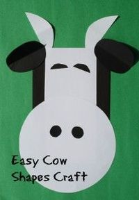 Easy cow shapes craft for preschool or kindergarten. Use with farm theme or letter c activities.