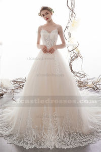 A Line Tulle Beaded Lace Wedding Dress with Long Train TB40