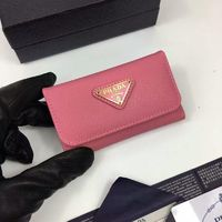 Prada 1M0224 Triangle Logo Saffiano Leather Key Holder In Pink