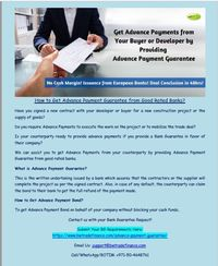 Read this document to know how Bank Guarantee helps traders and contractors to sign worthy contracts and trade deals. If you're looking for an Advance Payment Guarantee in favor of your counterparty to get Advance Payments from them to speed up the ...