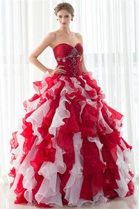 Ball Gown Sweetheart Red Organza Ruffle Quinceanera Prom Dress With Jacket