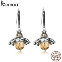 BAMOER Hot Sale Genuine 925 Sterling Silver Lovely Orange Bee Animal Drop Earrings for Women Fine Jewelry Gift Bijoux SCE149 $28.00