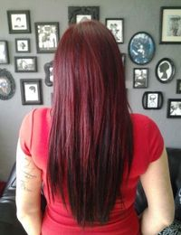 MICHELLE'S NEW HAIR COLOR & MICRO BEAD/WEFT EXTENSIONS. SHE HAD HIGHLIGHTS DONE AND COVERED WITH PRAVANA VIVIDS RED AND BASE IS 7.62. THEN WE HIGHLIGHTED AND COLORED SOME EXTENSIONS AND ADDED BLACK