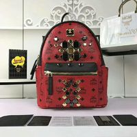 MCM Small Stark Brock Odeon Backpack In Red