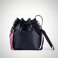 Colorful Strap PU Leather Bucket Messenger Bag $23.99
