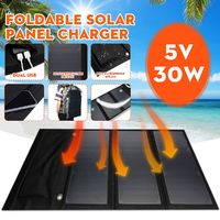 30W 5V Foldable Solar Panel Power Bank Dual USB Fast Charger Waterproof Portable