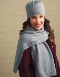 SIMPLY GREY HAT AND SCARF -FREE KNIT PATTERNS