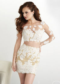 Scoop Neck Long Sleeves Applique Lace Two Piece Ivory Nude Formal Dress