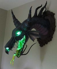 """This is spectacular! Magnificent """"Maleficent"""" Paper Mache Dragon Trophy. By papermal3; GeeksareSexy.net."""