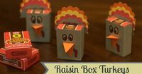 Raisin Box Turkeys - Cute Thanksgiving Preschool Class Snack