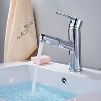 Chrome Finish Contemporary Pull Out Single Handle Bathroom Sink Faucet