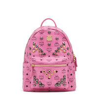 MCM Small Stark M Odeon Studs Backpack In Pink
