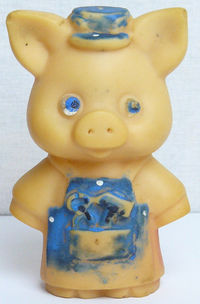 Vintage Original Soviet Russian Rubber Toy Small Piggy Doll USSR $3.00