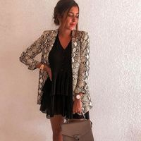 Price: $23.50 | Product: Elegant Fashion Casual Snake Print Long Sleeve Polyester Ladies Blazers | Visit our online store https://ladiesgents.ca