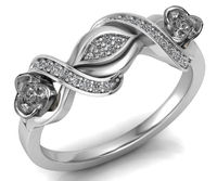 White Gold Flower Ring Promise Ring Branch Ring Unique Engagement Ring with Side Diamonds Floral ring Birthday Gift For Her Gift $888.00