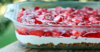 Strawberry jell-o cheesecake with pretzel crust. Also known as jell-o pretzel salad! Via The Food Librarian :)
