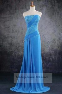 Blue Beaded Mermaid Long Prom Dresses 2014