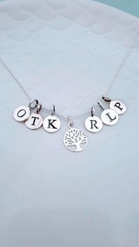 Family Tree Necklace with Initials, Baby Shower Gift, Anniversary Gift, Family Necklace,Birthday Gift, Valentine's Day Gift £33.00
