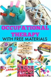 Occupational Therapy treatment tips and tools for pediatrics and school-based therapy using mostly free or inexpensive materials and items you can find around t
