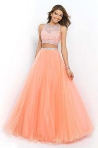 Blush 5400 Coral Pink Sleeveless Top Two Piece Ball Gown