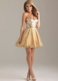 Gold Sequin Top Short Sparkly A Line Prom Dress