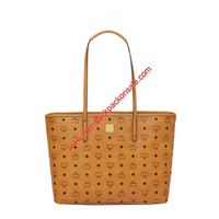 MCM Medium Anya Visetos Top Zip Shopper Tote In Brown