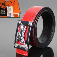Hermes Constance Wild Horse Belt Leather Palladium Hardware In Red