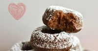 Soft and fluffy baked chocolate mini doughnuts dusted with powdered sugar. A perfect bite-sized chocolate treat that is also dairy-free!