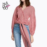 Vogue Simple V-neck Fall Tie Casual Stripped Blouse - Bonny YZOZO Boutique Store
