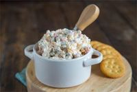 A creamy, cheesy, salty green olive, dip that is great warm or cold. #STARFineFoods