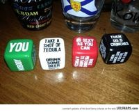 drinking games, dice and drinking.